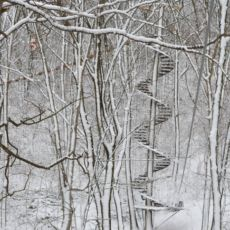 spiral staircase in snow